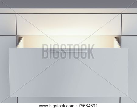 Opened drawer with light inside