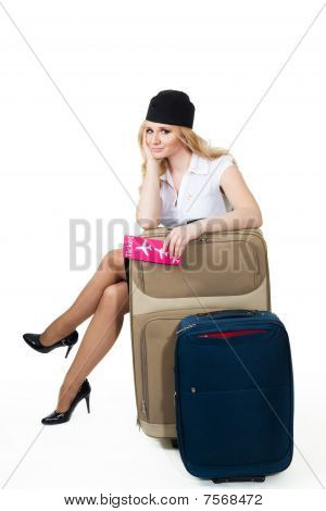 Flight Attendant With Baggage
