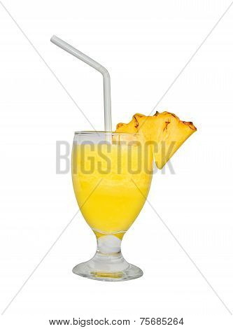 Glass of Fresh Pineapple Juice In A White Background