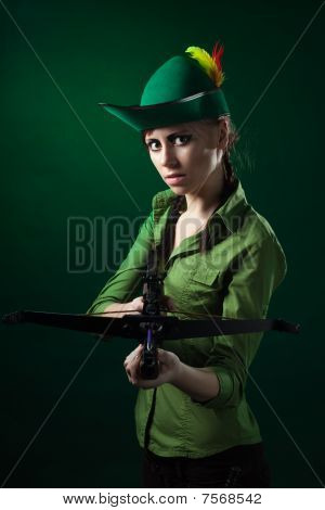 Serious Woman With Crossbow