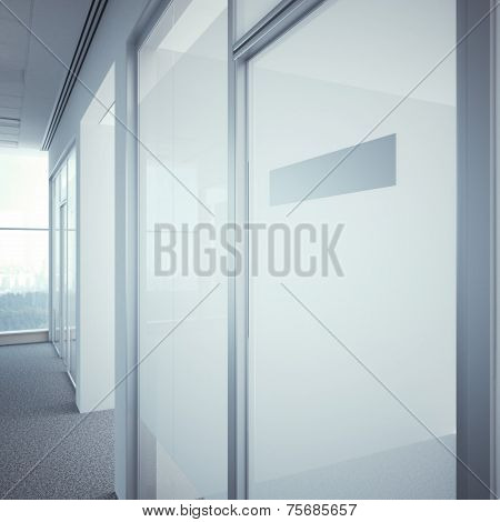 office door with metal nameplate