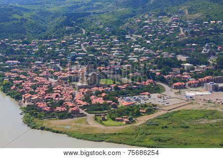 aerial view of Mtskheta, city with many attractions in 20 kilometres from Tbilisi