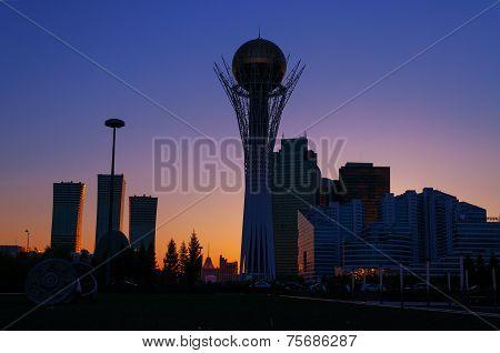 View Of Astana Modern City At Sunset