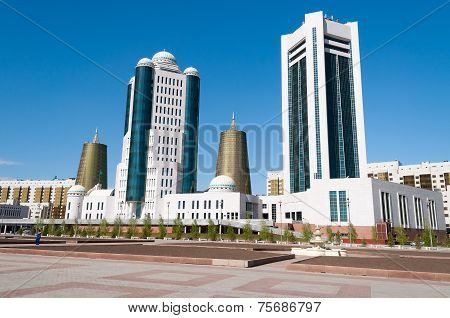Modern Buildings On Nurzhol Boulevard In Astana. Kazakhstan