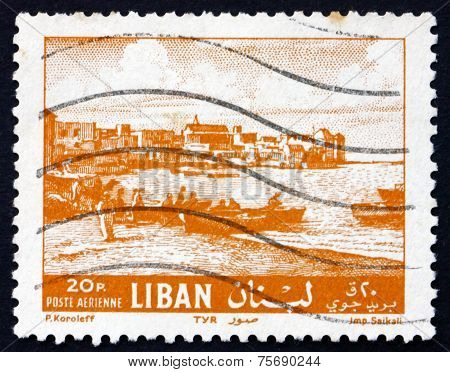 Postage Stamp Lebanon 1961 Beach At Tyre