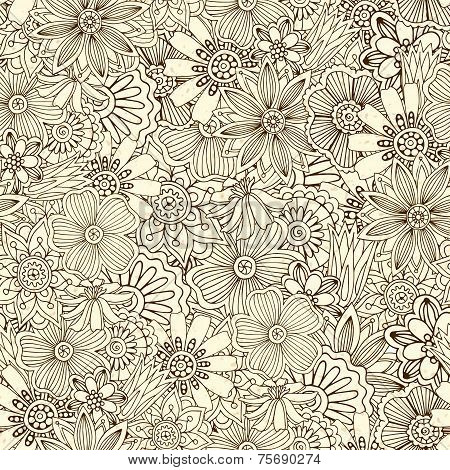 Seamless pattern with flowers, doodles, cucumbers