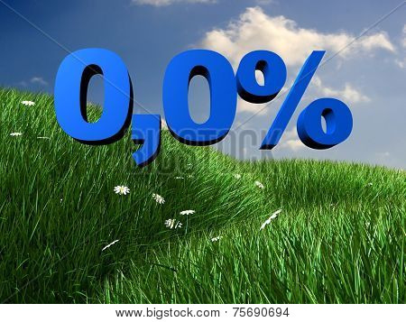 3d rendered illustration of a beautiful landscape and a blue percent sign
