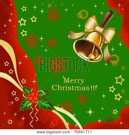 Christmas Holiday Background With Golden Bells And Poinsettia Plant