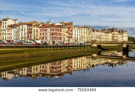 Buildings At The Embankment Of Bayonne - France, Aquitaine