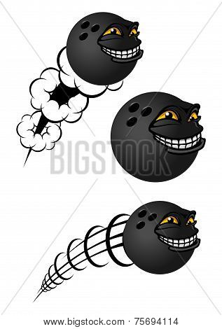 Cartoon bowling balls characters