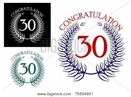 30 th Anniversary congratulation wreaths