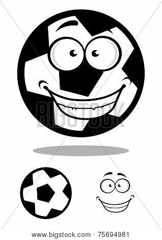 Happy football or soccer ball with a goofy smile