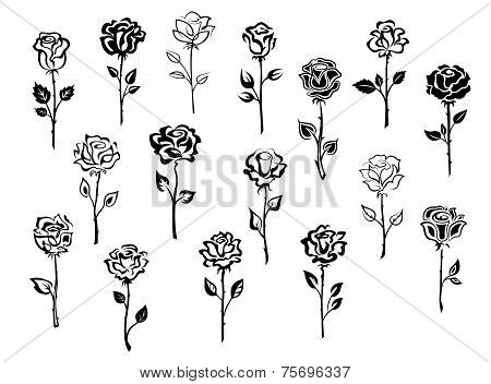 Set of rose icons