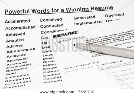 Powerful Words For Winning Resume