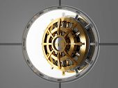 foto of bank vault  - bank vault door 3d view from safety room - JPG