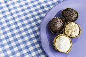 picture of sweetie  - Brazilian sweeties on a blue plate - JPG