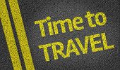 stock photo of wander  - Time to Travel written on the road - JPG