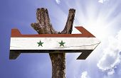 stock photo of euphrat  - Syria wooden sign on a beautiful day - JPG