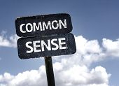 stock photo of senses  - Common Sense sign with clouds and sky background - JPG