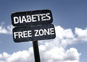 stock photo of diabetes mellitus  - Diabetes Free Zone sign with clouds and sky background  - JPG