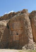 stock photo of xerxes  - Grave of king Daeiros carved in rock near Persepolis - JPG