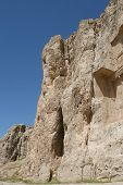 pic of xerxes  - Beautiful carving in rocks near Persepolis on a sunny day - JPG