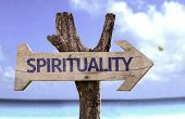 image of spiritual  - Spirituality wooden sign with a beach on background  - JPG