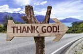 stock photo of feeling better  - Thanks God wooden sign with a landscape background - JPG