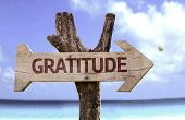 stock photo of tribute  - Gratitude wooden sign with a beach on background - JPG