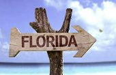pic of sunny beach  - Florida wooden sign with a beach on background - JPG