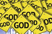 stock photo of sanctification  - God written on multiple road sign - JPG
