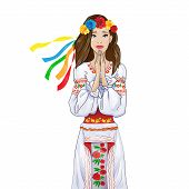 stock photo of national costume  - woman pray clasp hands - JPG