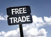 picture of free-trade  - Free Trade sign with clouds and sky background - JPG