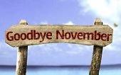 foto of goodbye  - Goodbye November wooden sign with a beach on background - JPG