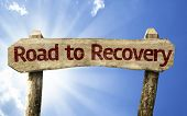 foto of persistence  - Road to Recovery wooden sign on a summer day - JPG