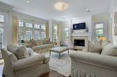 stock photo of light fixture  - Family room in luxury home with fireplace - JPG