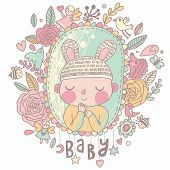 picture of bee cartoon  - Newborn baby card in pastel colors - JPG