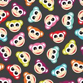 image of color animal  - Seamless colorful monkey animals for kids background pattern in vector - JPG