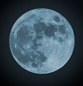 picture of blue moon  - Blue Full moon isolated on a black sky - JPG