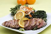 image of duck breast  - Roast Duck Breast with Orange sauce and Vegetable - JPG