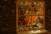 image of xmas tree  - Christmas Window Holiday Home Lights Room Decorated By Xmas Tree Candles Presents Gift New Year Night Snow And Frost - JPG