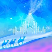 picture of bethlehem  - Classic three wise men scene and shining star of Bethlehem  - JPG