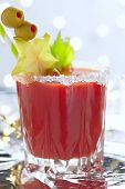 foto of bloody mary  - Bloody Mary Cocktail with olives  for Christmas  - JPG
