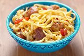 pic of egg noodles  - Asian noodles with pork meat and pepper - JPG