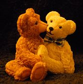 foto of teddy-bear  - Two kissing teddy bears made from candle wax - JPG