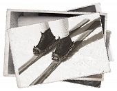 image of ski boots  - Vintage photos Old wooden skis and leather ski boots - JPG