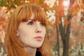 pic of freckle face  - Pretty red hair girl face with freckles against red autumn foliage - JPG