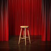 stock photo of comedy  - stool on a stage with curtains - JPG