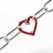 pic of broken hearted  - broken chain with red heart element isolated on a white background - JPG