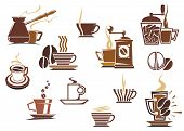 picture of latte  - Various coffee icons in brown and white showing a coffee mill - JPG